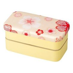 Hakoya - Hakoya Nunobari Rectangular 2 Layers Lunch Box S Yume Sakura (Beige)