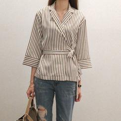 NANING9 - Stripe Tied-Waist Shirt