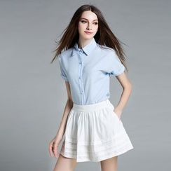 Cherry Dress - Set: Pinstriped Short-Sleeve Blouse + Skirt