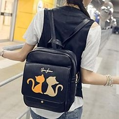 Youme - Cartoon Cat Applique Backpack