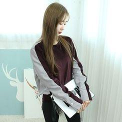 Dodostyle - Stripe Shirt-Trim Pullover