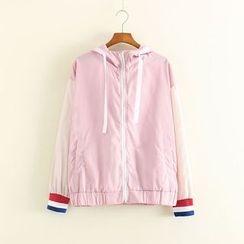 Mushi - Color Panel Hooded Zip Jacket