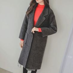 JUSTONE - Notched-Lapel One-Button Wool Blend Coat