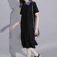 Sonne - 袖子拼色中长款Polo恤