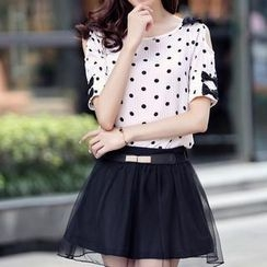 AiSun - Set: Short-Sleeve Dotted Top + A-Line Skirt + Belt