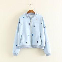 Mushi - Tree Embroidered Zip Jacket