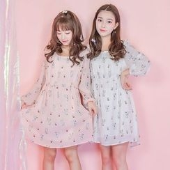Moriville - Long-Sleeve Printed A-line Dress