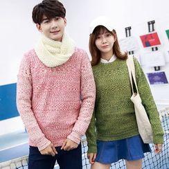 Je T'aime - Couple Matching Melange Knit Top