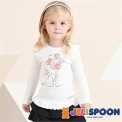 JELISPOON - Girls Frill-Trim Printed T-Shirt