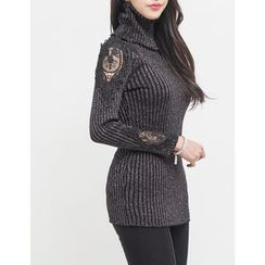 GUMZZI - Turtle-Neck Lace-Tim Knit Top