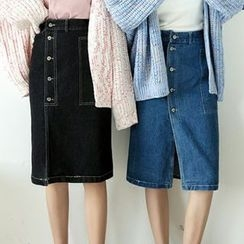 Woodie - Buttoned Denim Skirt