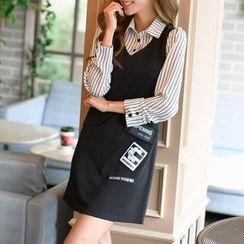 DAZZ - Striped Mock Two-Piece Dress