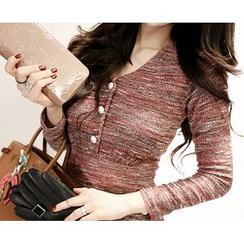 Marlangrouge - V-Neck Tweed Sheath Mini Dress