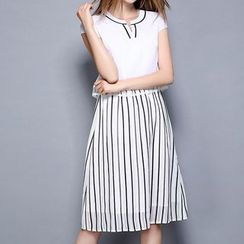 Merald - Stripe Mock Two-Piece Chiffon Dress