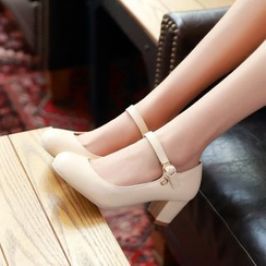 JY Shoes - Block Heel Mary Jane Pumps