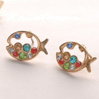 Fit-to-Kill - Colorful Diamond Fish Earrings - Other Color