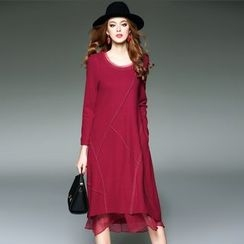 Blue Sky Butterfly - Wool Blend Long-Sleeve Paneled Dress