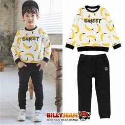 BILLY JEAN - Kids Set: Banana Print Lettering Top + Sweatpants