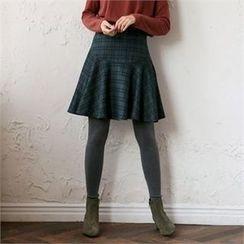 MAGJAY - Ruffled-Hem Checked Skirt