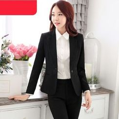 Mija - Set: Plain Blazer / Skirt / Dress Pants / Pintuck Shirt