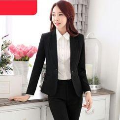 Mija - 套裝: 純色西裝外套 / 裙 / 西褲 / 細褶襯衫