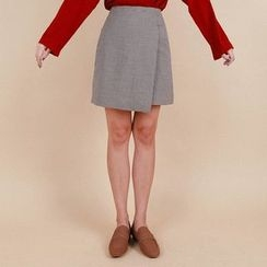 Vintage Vender - Wrap-Front Check Mini Skirt