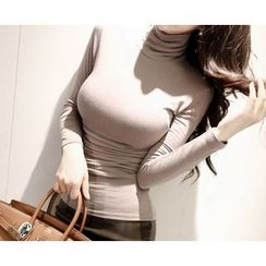 Marlangrouge - Turtle-Neck Shirred Slim-Fit Top