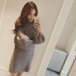 Hibisco - Long-Sleeve Mock Neck Knit Dress