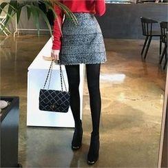 QNIGIRLS - A-Line Plaid Mini Skirt
