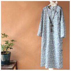 Rosadame - 長袖花紋麻質連衣裙