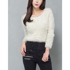 GUMZZI - Shearling Glittered Knit Top