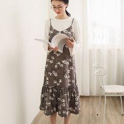 三木社 - 碎花饰褶吊带裙