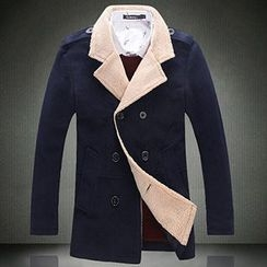 Riverland - Fleece Lapel Double-Breasted Coat