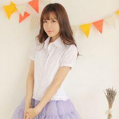 dollydelly - 短袖纯色衬衫