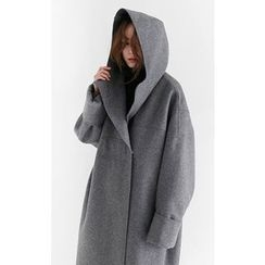 Someday, if - Hooded Wool Blend Oversized Coat
