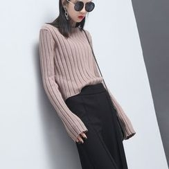 Sonne - Ultra Long-Sleeved High-Neck Rib-Knit Top