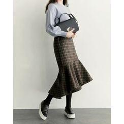 UPTOWNHOLIC - Ruffle-Hem Checked Skirt