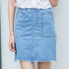 Sens Collection - Raw Hem A-Line Denim Mini Skirt