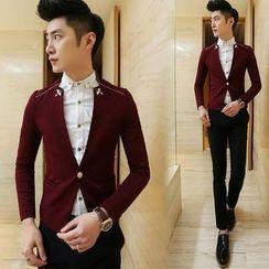 Bestrooy - Mandarin Collar Contrast Trim Blazer