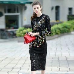 洛图 - 长袖蕾丝拼接连衣裙