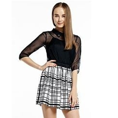 O.SA - Set: Sheer Jeweled Blouse with Camisole + Plaid Skirt