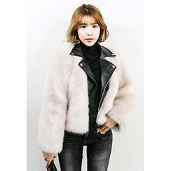 INSTYLEFIT - Faux-Fur Belted Rider Jacket