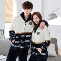 SHIRLEY - Couple Matching Pajama Set: Striped Panel Long Sleeve Top + Pants