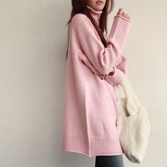 NIPONJJUYA - Turtle-Neck Colored Long Knit Top