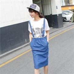 FITTHEM - Band-Waist Denim Midi Skirt with Suspender
