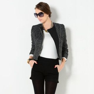YesStyle Z - Diagonal-Zip Collarless Tweed Jacket