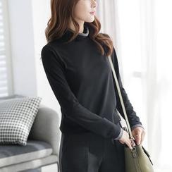 CLICK - Turtle-Neck Contrast-Trim T-Shirt