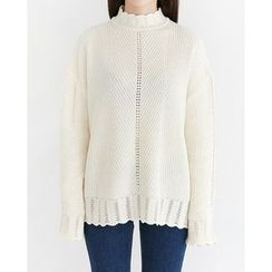 Someday, if - Mock-Neck Pointelle-Knit Top