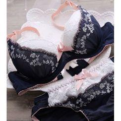 HYG Lingerie - Set: Embroidered Lace Bra + Panties