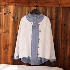 tete - 麻花針織開襟衫
